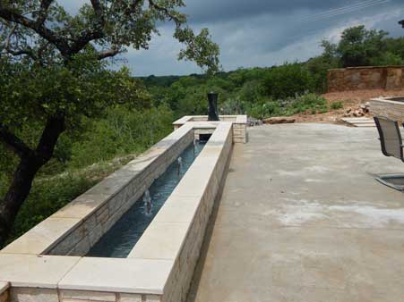 custom home patio fountain in central texas