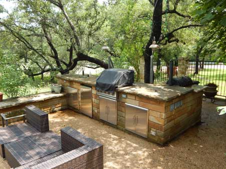 patio with outdoor kitchen leander
