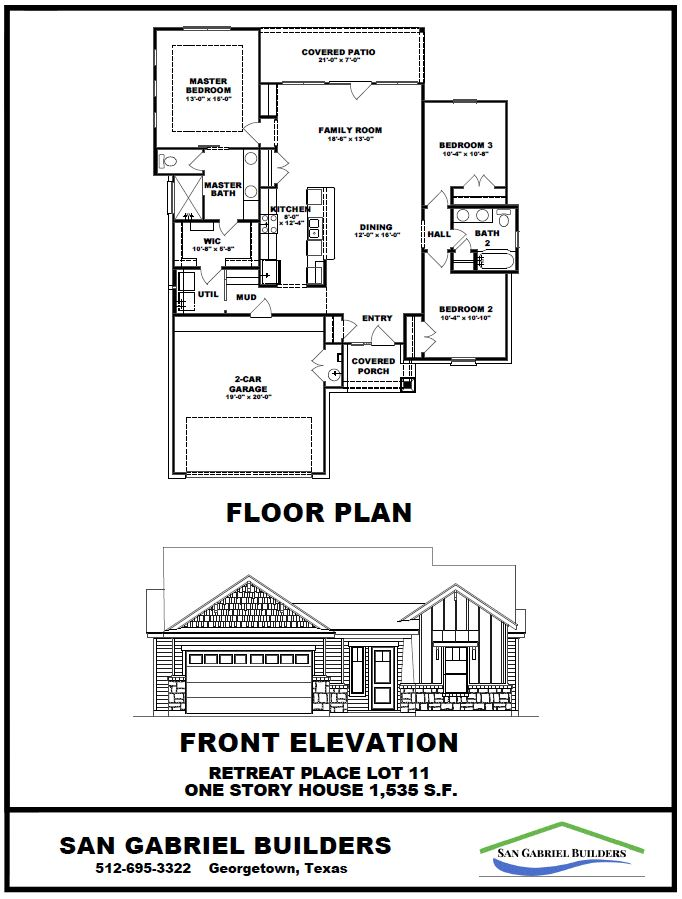 elevation & floorplan Lot 11 The Retreat - Georgetown